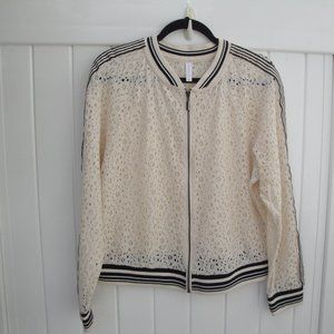 Lace Bomber Cream Jacket with Black Stripe XL